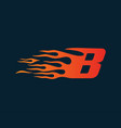 letter b flame logo speed logo design concept vector image vector image