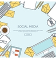 lined Social network Global vector image vector image
