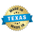 made in Texas gold badge with blue ribbon vector image vector image