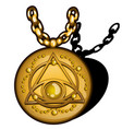 magic round golden pendant with the image vector image