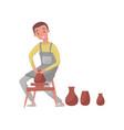 man shaping ceramic jug on rotating pottery wheel vector image