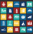 modern and ancient buildings set on color squares vector image