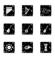 Musical device icons set grunge style vector image vector image