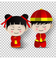 paper art of boy-girl costume traditional vector image
