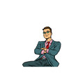 pop art businessman sitting smiling vector image vector image