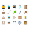 sauna equipment simple flat color icons set vector image