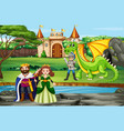 scene with king and queen at castle vector image vector image