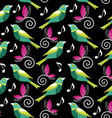 Seamless pattern with birds and flowers hand-drawi vector image vector image