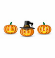 set halloween pumpkins on white background vector image