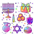 set of happy hanukkah celebration objects and vector image