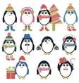 Set of penguins in winter vector image vector image