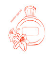 simple bottle with two lily flowers vector image vector image