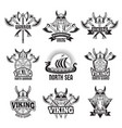 sports and battle badges and labels with vikings vector image