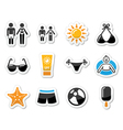 Summer beach holidays icons set vector image vector image
