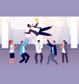 team celebrates victory employees throw colleague vector image