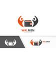 wallet and people logo combination purse vector image vector image