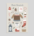 winter essentials christmas greeting card set vector image