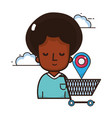 woman shopping online cartoon vector image