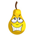 yellow apple smiling on white background vector image vector image