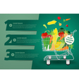 Shopping cart with fruits and vegetables vector image