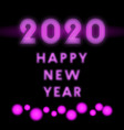 2020 happy new year background neon design vector image vector image