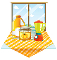 A table with a blender and containers vector image vector image