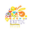abstract hand drawn doodle exotic travel logo vector image