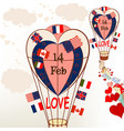 air balloons with international flags and hearts vector image