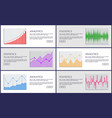 analytics and statistics color charts collection vector image vector image