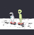 astronaut and alien rides on gyro scooter vector image vector image