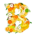 B made of fruits vector image vector image
