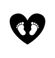 baby footprints inside of black heart icon vector image vector image
