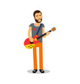 bearded man playing guitar during concert cartoon vector image