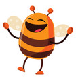 bee is cheerful on white background vector image vector image