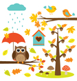 Birdstrees and owl vector image vector image
