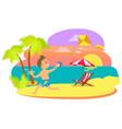 boy kid having fun summertime vacations sunset vector image vector image
