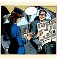 business class plane breakfast stewardess vector image