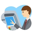 Businessman using ATM machine vector image vector image