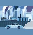 car air pollution city road smog toxic air vector image vector image