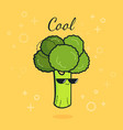 cartoon funny broccoli icon with vector image