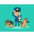 Cartoon security guard policeman with police guard vector image