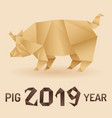 chinese new year 2019 pig origami vector image