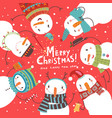 christmas card with snowmen vector image vector image
