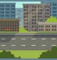 city street with road and city buildings modern vector image vector image