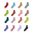Colorful cute child socks icons Sock set isolated vector image vector image