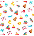 colorful pattern with different kind of toys vector image vector image