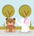cute bear and elephant animal characters vector image