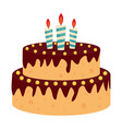 cute birthday cake icon with candles design vector image vector image