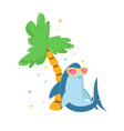cute shark character in sunglasses relaxing under vector image