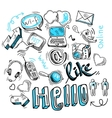 Doodle social media signs vector image
